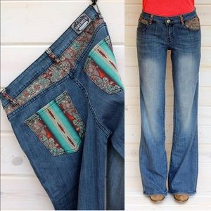 Paisley pocket boot cut jeans